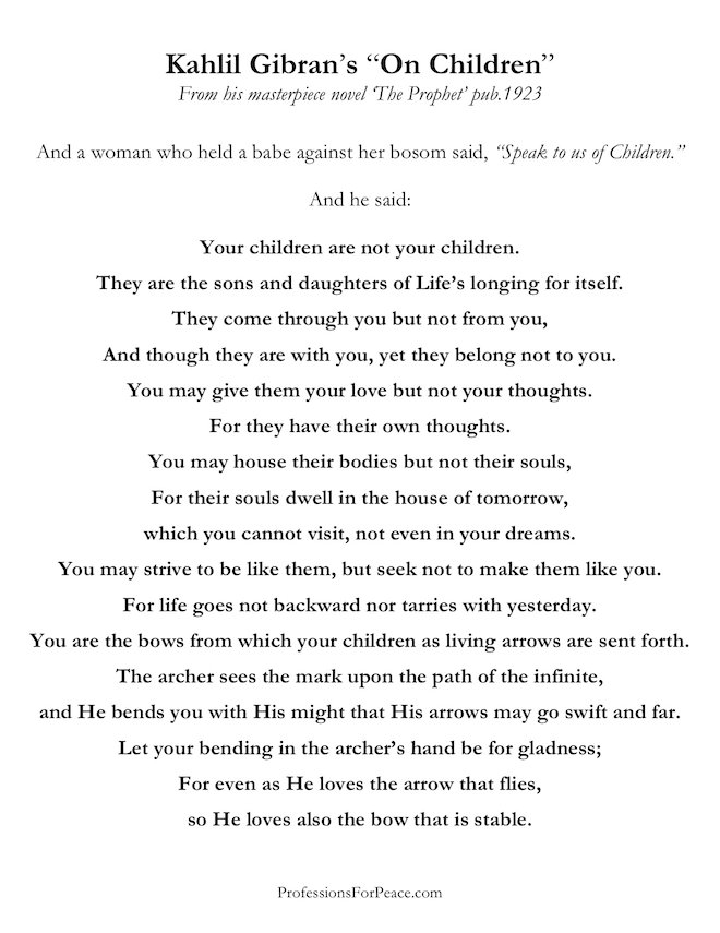 khalil gibran quotes on children